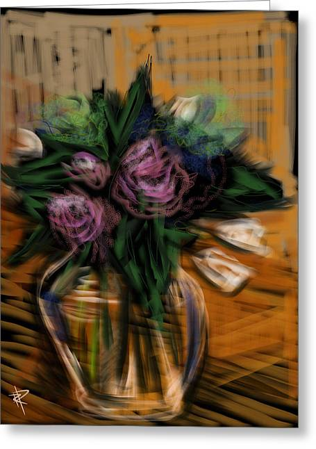 Glass Table Reflection Mixed Media Greeting Cards - Bouquet Greeting Card by Russell Pierce