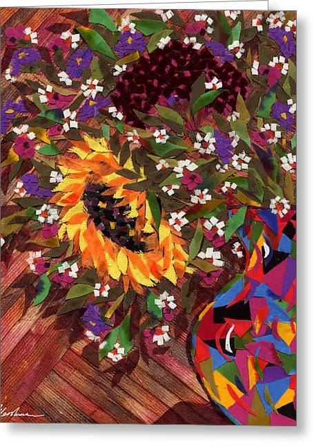 Flower Still Life Tapestries - Textiles Greeting Cards - Bouquet with a Sunflower Greeting Card by Marina Gershman