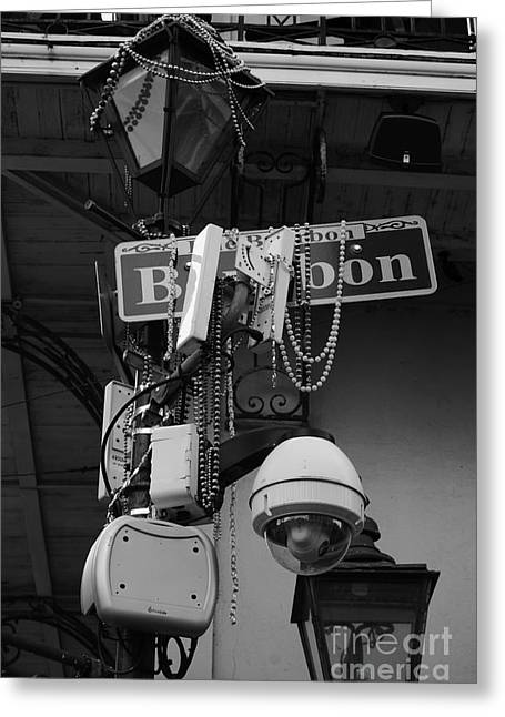 French Quarter Greeting Cards - Bourbon Street Sign and Lamp Covered in Beads Black and White Greeting Card by Shawn O