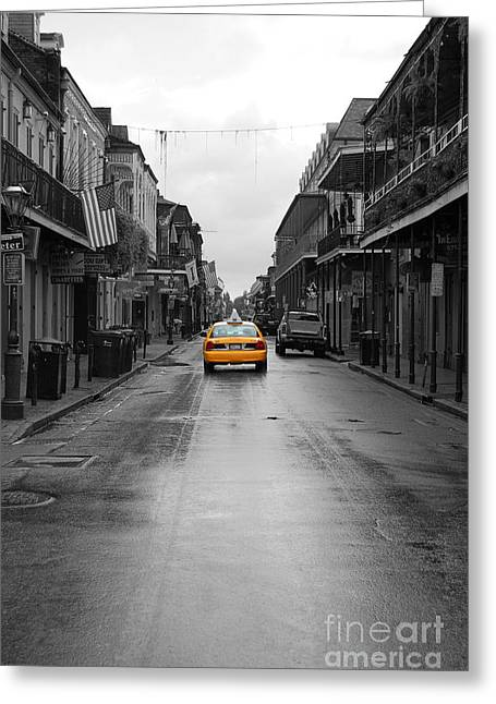 Travelpixpro Greeting Cards - Bourbon Street Taxi Cab French Quarter New Orleans Color Splash Black and White Greeting Card by Shawn O