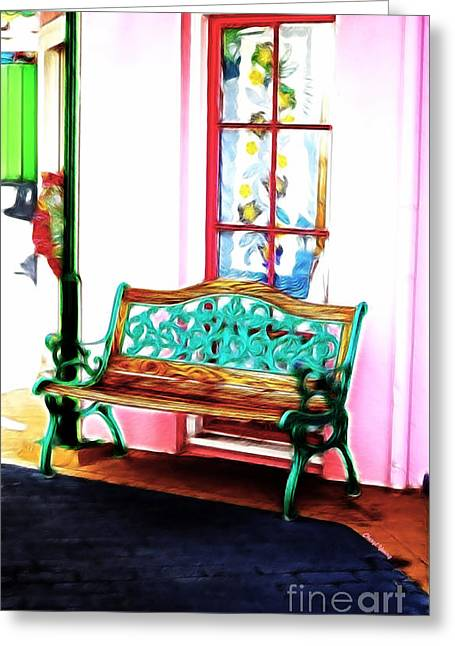Fashion Art For Boutique Greeting Cards - Boutique Bench Greeting Card by Cheryl Young