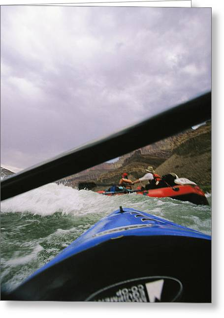 Inflatable Raft Greeting Cards - Bow Of A Kayak And A Raft Among Waves Greeting Card by Mark Cosslett