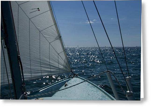 Told Greeting Cards - Bow Of A Sailboat Under Sail Greeting Card by Todd Gipstein
