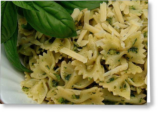 Bow-tie Pasta With Basil Pesto Sauce And Parmesan Cheese Greeting Card by James Temple