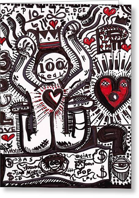 Basquiat Drawings Greeting Cards - Bow To The Money Greeting Card by Robert Wolverton Jr
