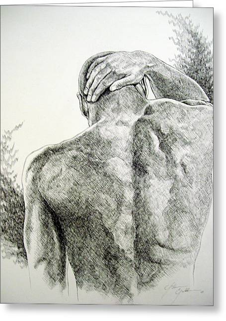 Will Power Drawings Greeting Cards - Bowed But Unbroken Greeting Card by Otis  Cobb