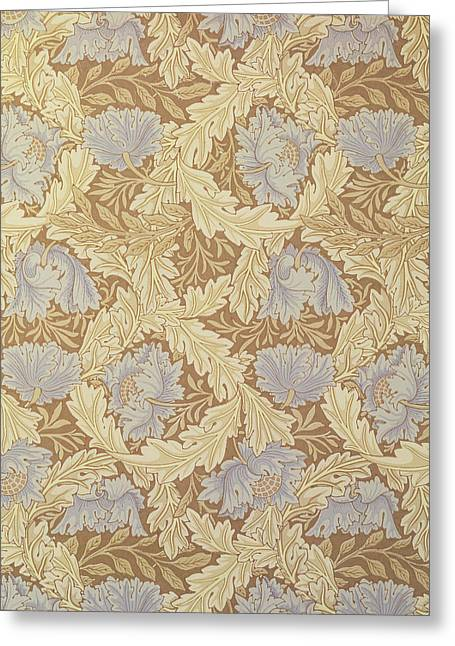 Blue Flowers Greeting Cards - Bower Wallpaper Design Greeting Card by William Morris