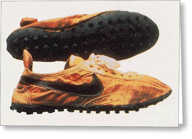 Nike Shoes Greeting Cards - Bowermans Waffle Sole Design Greeting Card by Photo Researchers