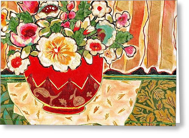 Diane Fine Greeting Cards - Bowl and Blossoms Greeting Card by Diane Fine