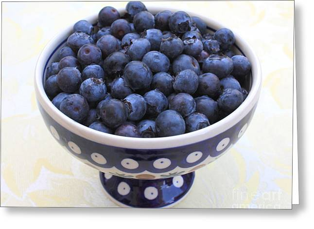 Recently Sold -  - Berry Greeting Cards - Bowl of Blueberries Greeting Card by Carol Groenen