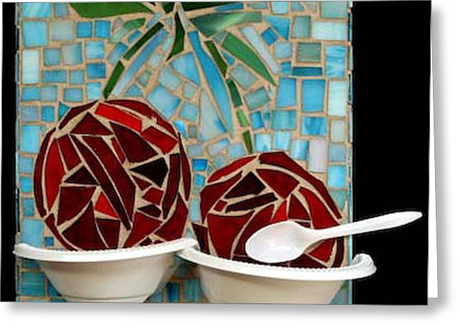 Collection Glass Art Greeting Cards - Bowl of Cherries Greeting Card by Diane Morizio