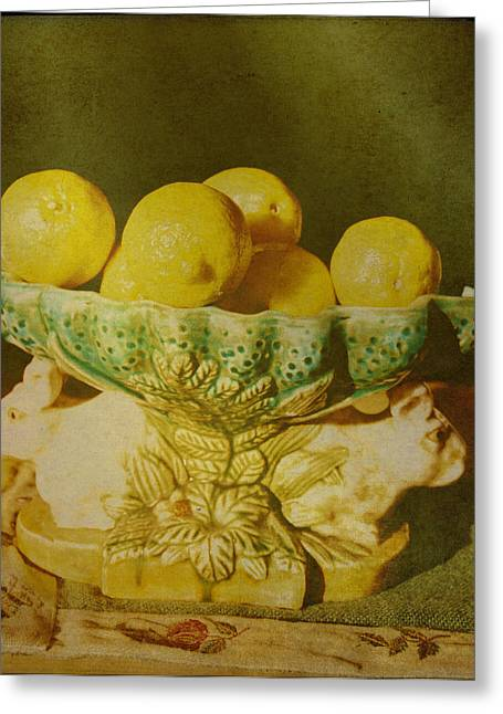 Soft Light Greeting Cards - Bowl Of Lemons Greeting Card by Jan Amiss Photography