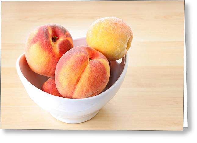 Nutritional Greeting Cards - Bowl of Peaches Greeting Card by Darren Fisher
