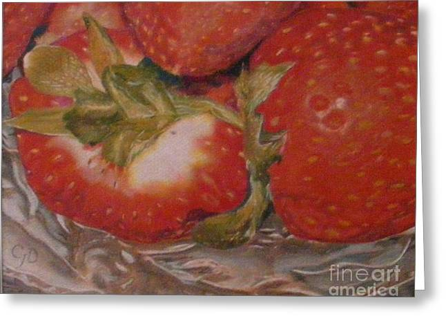 Strawberry Drawings Greeting Cards - Bowl Of Strawberries Greeting Card by Crispin  Delgado