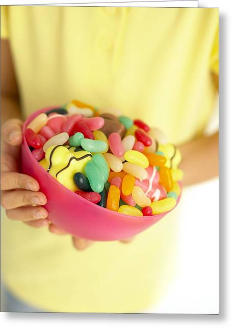 Greedy Greeting Cards - Bowl Of Sweets Greeting Card by Ian Boddy