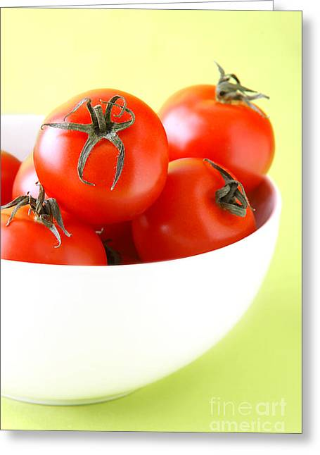 Vegetable Photographs Greeting Cards - Bowl Of Tomatoes Greeting Card by HD Connelly