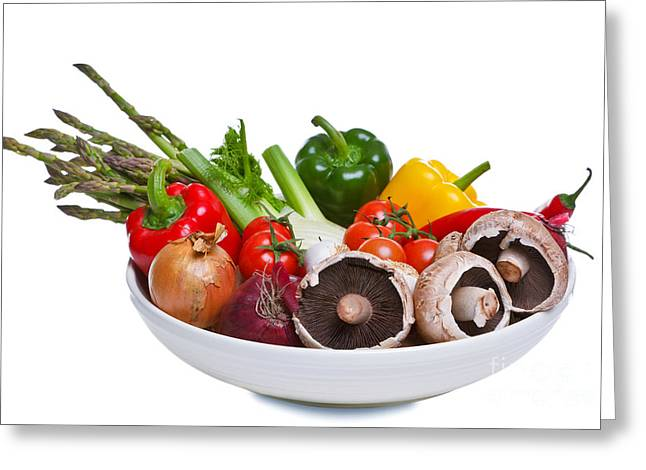 Healthy Greeting Cards - Bowl of vegetables isolated on white. Greeting Card by Richard Thomas