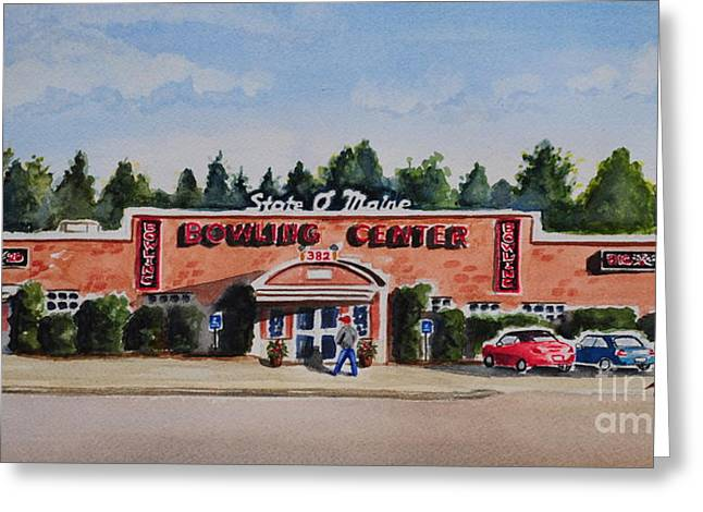 Andrea Timm Greeting Cards - Bowling Center Greeting Card by Andrea Timm