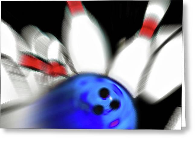 Bowling Sign 2 - Strike  Greeting Card by Steve Ohlsen