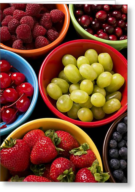 Red Fruit Greeting Cards - Bowls of fruit Greeting Card by Garry Gay