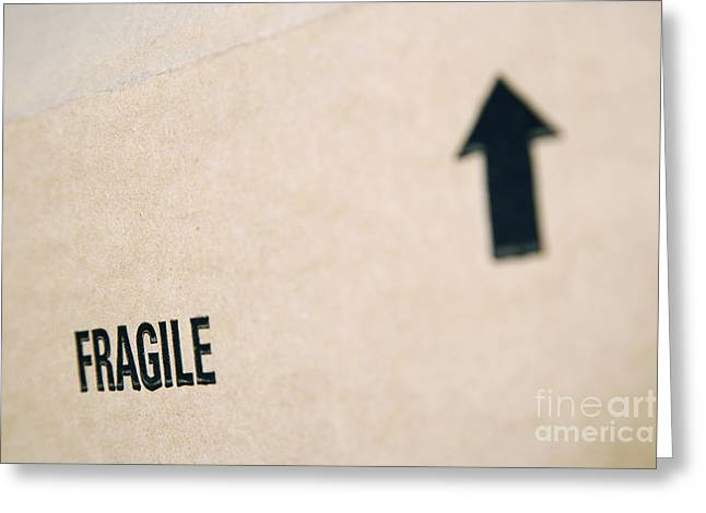 Cardboard Greeting Cards - Box Marked Fragile Greeting Card by Shannon Fagan
