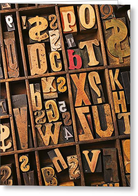 Block Printing Greeting Cards - Box of old wooden type setting blocks Greeting Card by Garry Gay