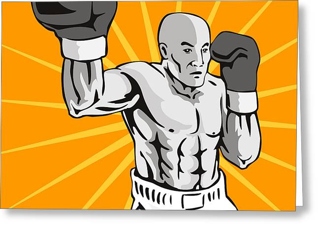Knockout Greeting Cards - Boxer Boxing Knockout Punch Retro Greeting Card by Aloysius Patrimonio