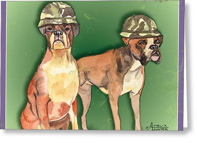 Boxer Brigade Chew Toys Greeting Card by Amelia Hunter