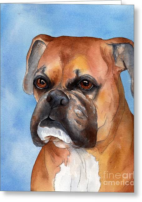 Boxer Greeting Cards - Boxer Greeting Card by Cherilynn Wood