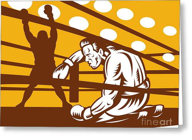 Heavyweight Digital Art Greeting Cards - Boxer down on his hunches Greeting Card by Aloysius Patrimonio