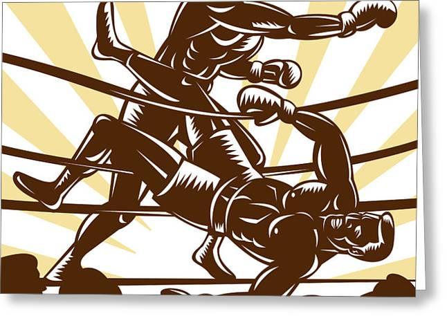 Boxer knocking out Greeting Card by Aloysius Patrimonio