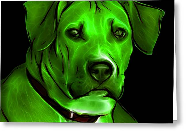Boxer Pitbull Mix Pop Art - Green Greeting Card by James Ahn