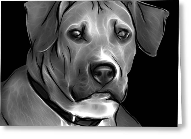 Boxer Pitbull Mix Pop Art - Greyscale Greeting Card by James Ahn