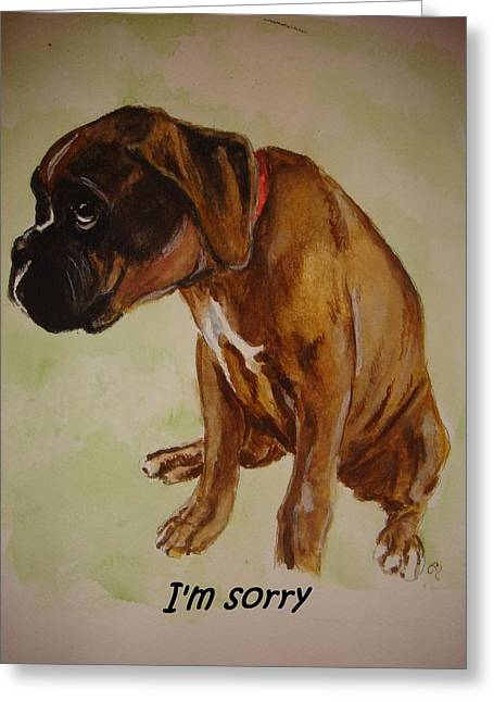 Cute Glass Art Greeting Cards - Boxer Puppy Greeting Card by Carol Blackhurst