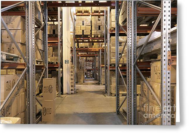 Shelving Greeting Cards - Boxes Stored in a Warehouse Greeting Card by Magomed Magomedagaev