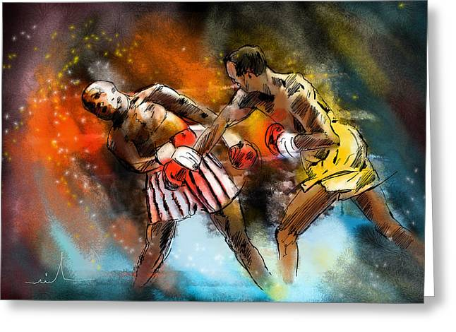 Miki Digital Greeting Cards - Boxing 01 Greeting Card by Miki De Goodaboom