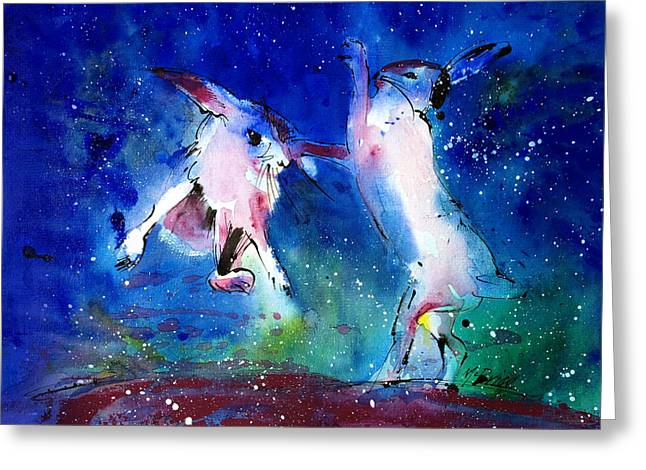 Expressive Greeting Cards - Boxing Hares Greeting Card by Neil McBride