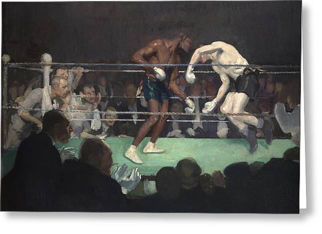 Eight Greeting Cards - Boxing Match Greeting Card by George Luks