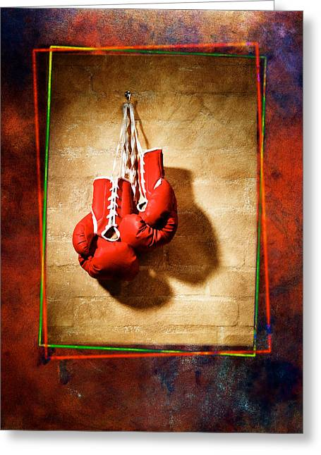 Glove Pyrography Greeting Cards - Boxing Greeting Card by Mauro Celotti