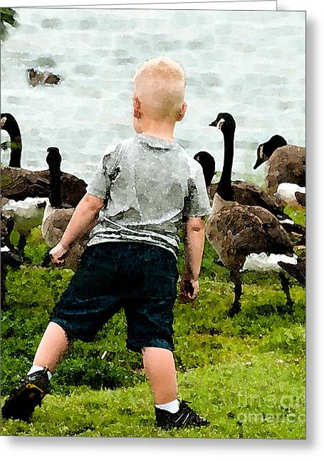 2-3 Years Greeting Cards - Boy and Geese Greeting Card by Betty LaRue