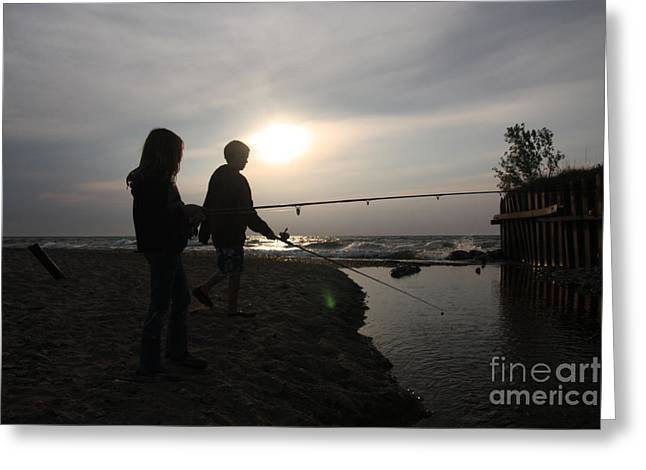 Babbling Greeting Cards - Boy and girl fishing together from shore Greeting Card by Christopher Purcell
