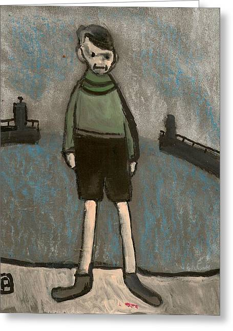 Postal Mixed Media Greeting Cards - Boy and harbour Greeting Card by Peter  McPartlin