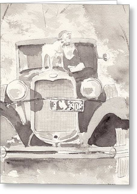 Ford Model T Car Greeting Cards - Boy And His Dog On An Old Car Greeting Card by Ken Powers