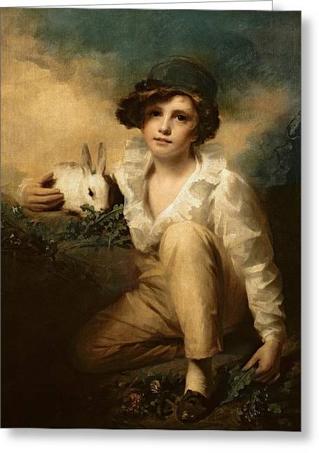 18th Century Greeting Cards - Boy and Rabbit Greeting Card by Sir Henry Raeburn