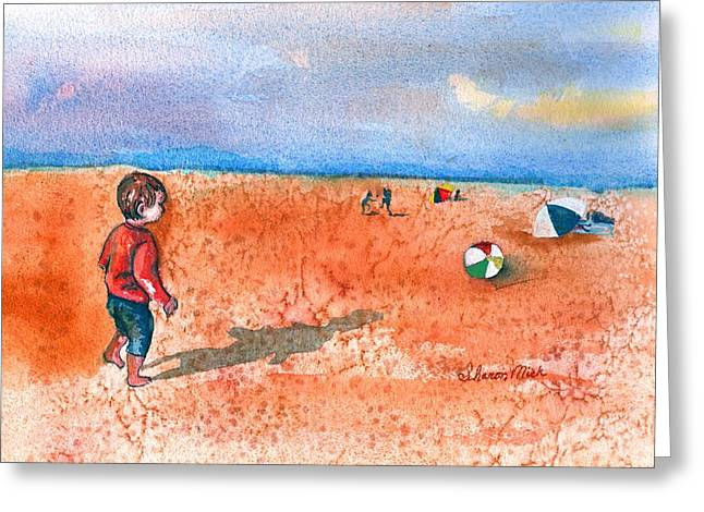 Water Color Greeting Cards - Boy at Beach Playing and Chasing Ball Greeting Card by Sharon Mick