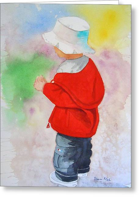 Sweat Paintings Greeting Cards - Boy at Beach Greeting Card by Sharon Mick