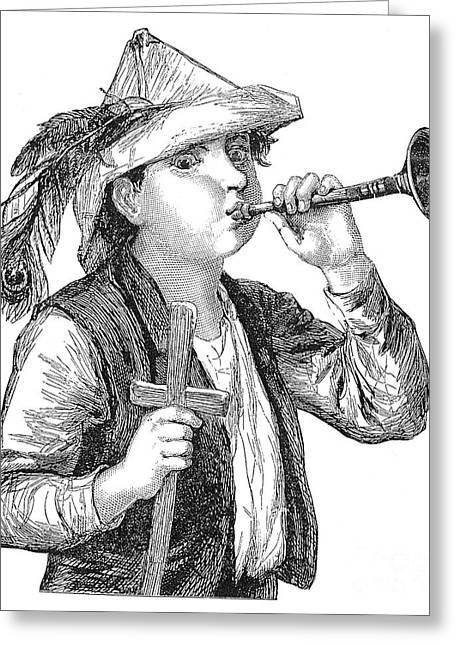 Pastimes Greeting Cards - Boy Blowing Bugle Greeting Card by Granger