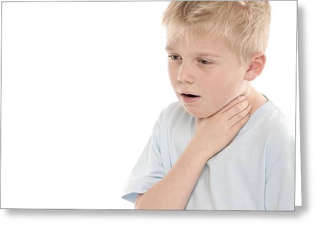 Choking Greeting Cards - Boy Choking Greeting Card by