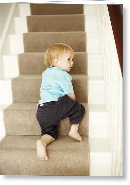 Foot-step Greeting Cards - Boy Climbing Stairs Greeting Card by Ian Boddy