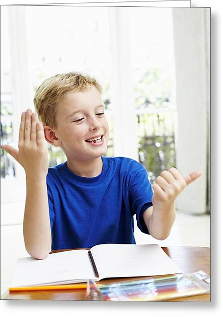 Blank Pages Greeting Cards - Boy Counting On His Fingers Greeting Card by Ian Boddy